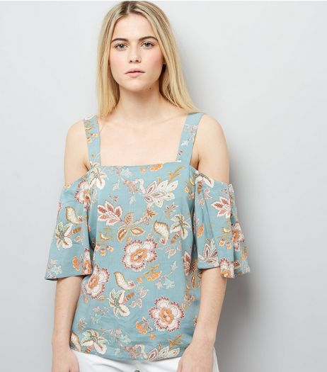 Pale Green Floral Print Cold Shoulder Top | New Look