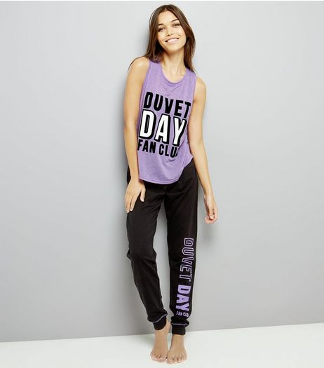 Purple Duvet Day Fan Club Pyjama Set | New Look
