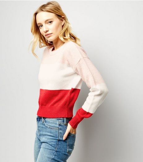 Red Block Stripe Cropped Jumper | New Look