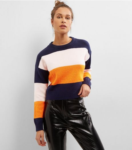 Navy Block Stripe Cropped Jumper | New Look