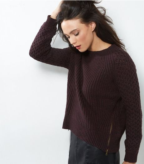 Apricot Burgundy Knitted Zip Side Jumper  | New Look