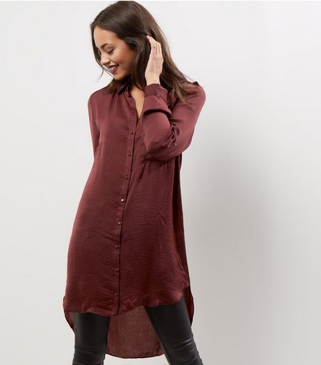 Apricot Burgundy Sateen Longline Shirt  | New Look