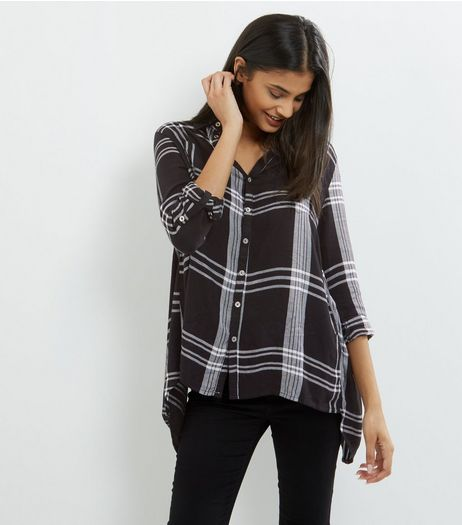 Apricot Black Check Hanky Hem Shirt  | New Look