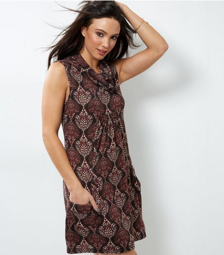 Apricot Black Paisley Print Cowl Neck Tunic | New Look