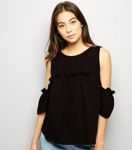 Black Cold Shoulder Poplin Top | New Look