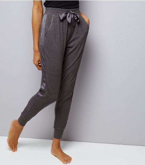 Grey Brushed Jersey Sateen Trim Joggers | New Look