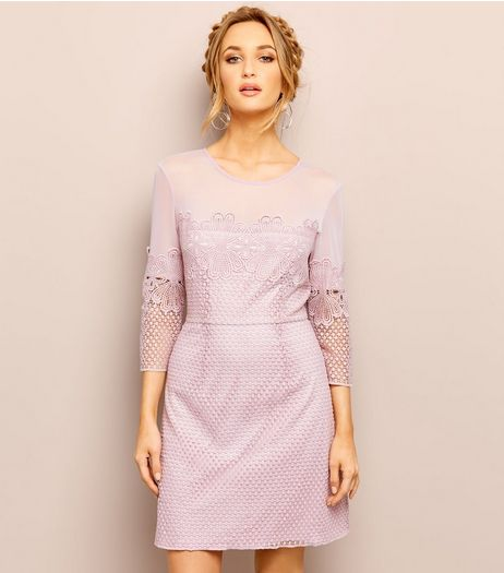 Lilac Mesh Lace Trim 3/4 Sleeve Mini Dress | New Look
