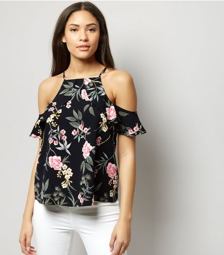 Black Floral Print Frill Trim Cold Shoulder Top  | New Look