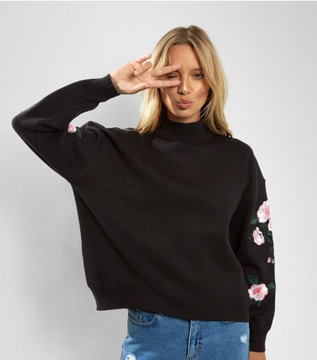 Black Floral Embroidered Sleeve Sweater  | New Look