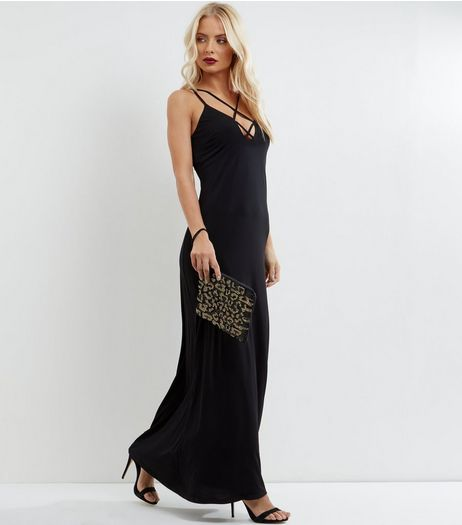 Black Cross Strap Front Plunge Maxi Dress | New Look