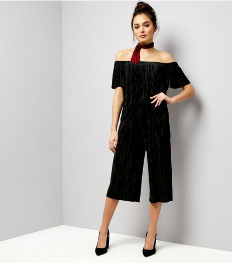 Black Plisse Bardot Layered Jumpsuit | New Look