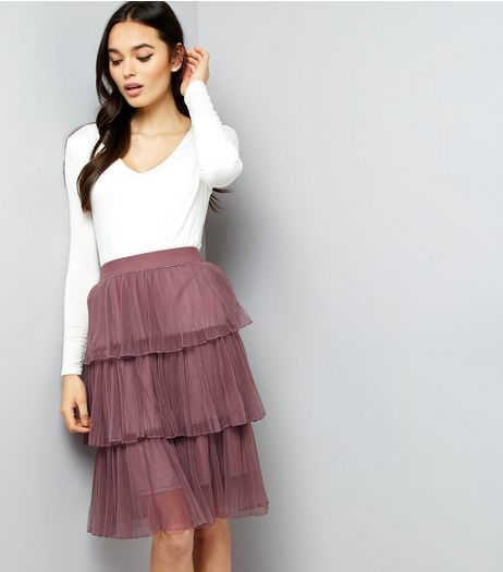 Dark Purple Pleated Tulle Skater Skirt  | New Look