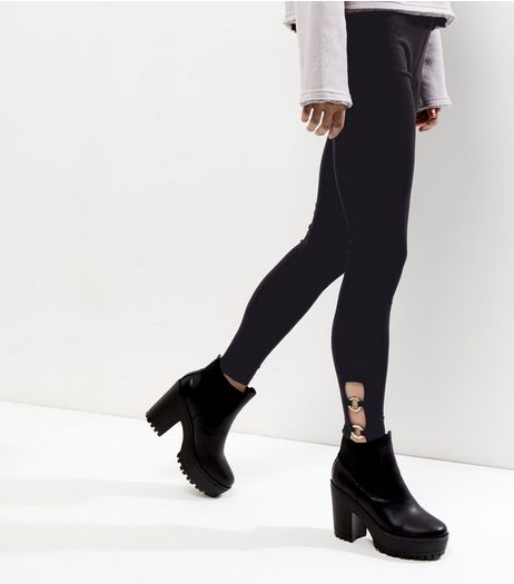 Black Ring Trim Leggings  | New Look