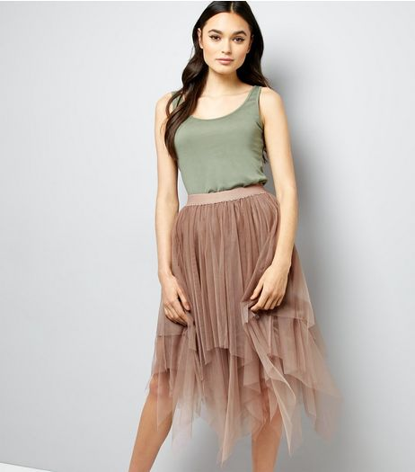 Mink Tulle Hanky Hem Midi Skirt | New Look