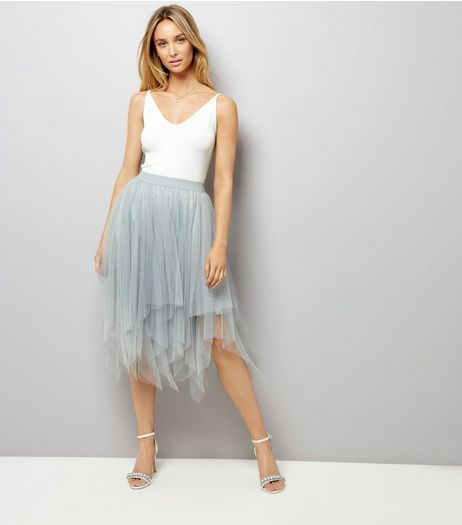 Mint Green Tulle Hanky Hem Midi Skirt | New Look