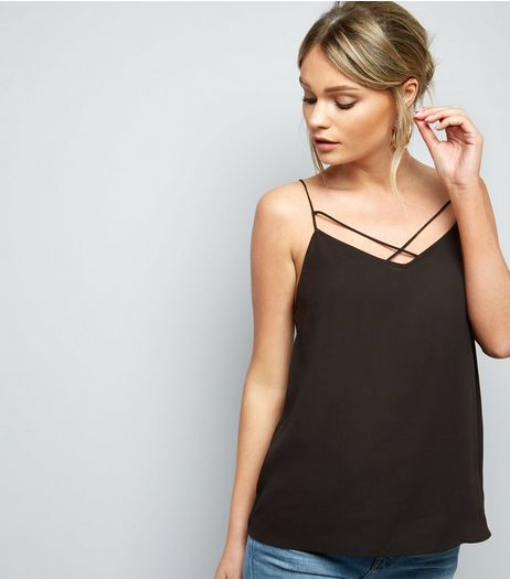 Black Cross Strap Front Cami Top | New Look
