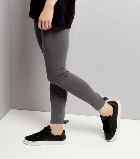 Dark Grey Bow Side Leggings  | New Look