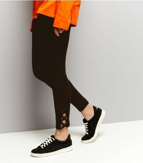 Black Lattice Hem Leggings  | New Look