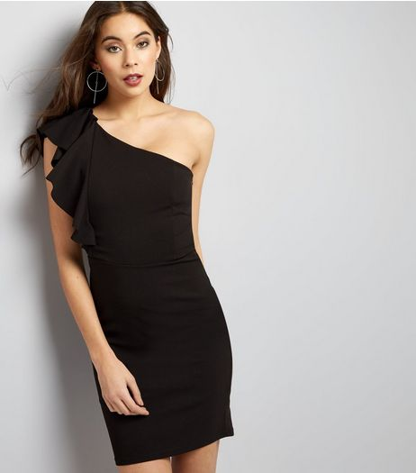 Black Frill Trim Off the Shoulder Bodycon Dress | New Look