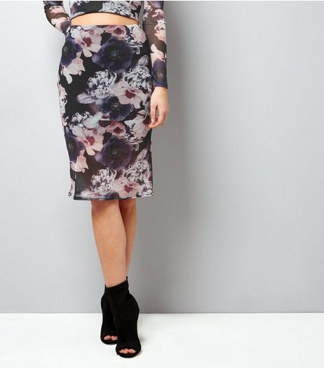 Pink Floral Print Mesh Midi Skirt  | New Look