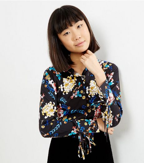 Influence Black Floral Print Shirt | New Look