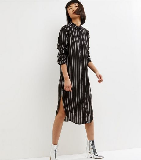 Influence Black Stripe Long Sleeve Shirt Dress  | New Look