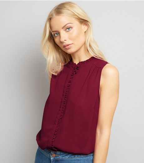 Burgundy Frill Trim Sleeveless Top | New Look