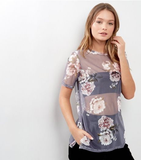 Black Floral Mesh Oversized T-Shirt | New Look