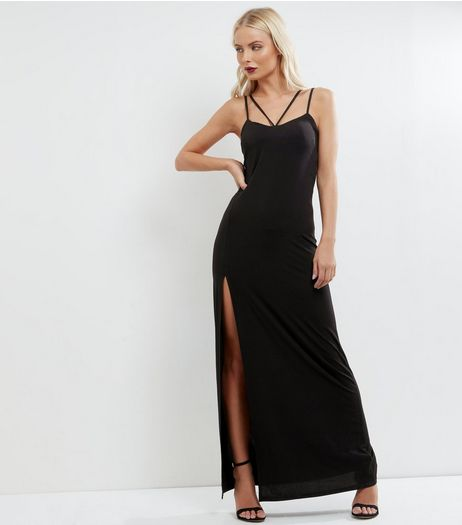 Black Strappy Split Side Maxi Dress | New Look