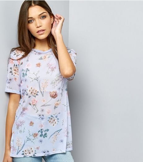 Blue Mesh Floral Print T-Shirt | New Look