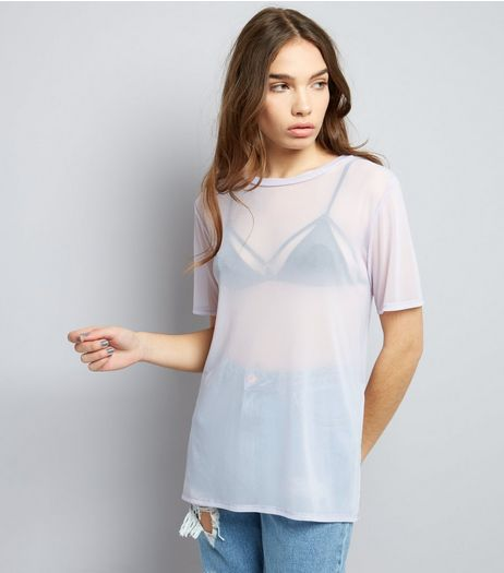 Lilac Mesh Oversized T-Shirt | New Look