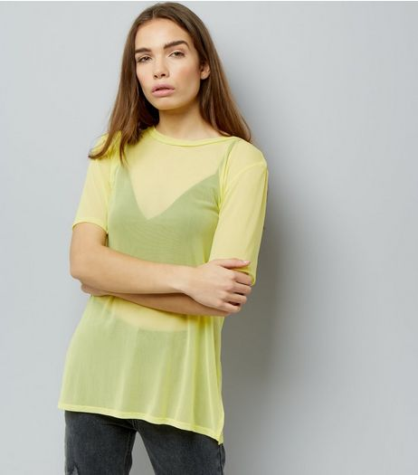 Yellow Mesh Oversized T-Shirt | New Look
