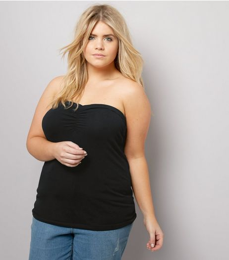Curves Black Bandeau Top | New Look