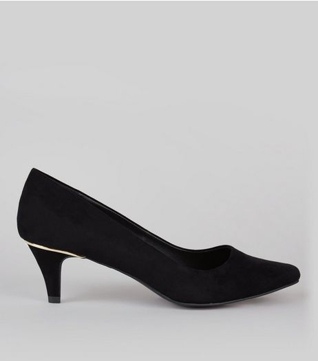 Wide Fit Black Comfort Metal Trim Kitten Heels | New Look