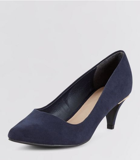 Wide Fit Navy Comfort Metal Trim Kitten Heels | New Look