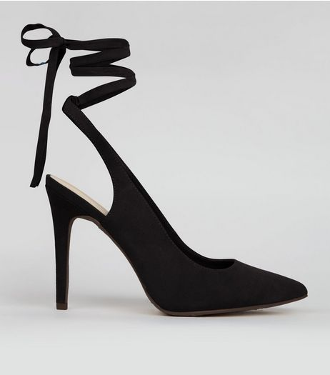 Wide Fit Black Pointed Tie Up Heels | New Look