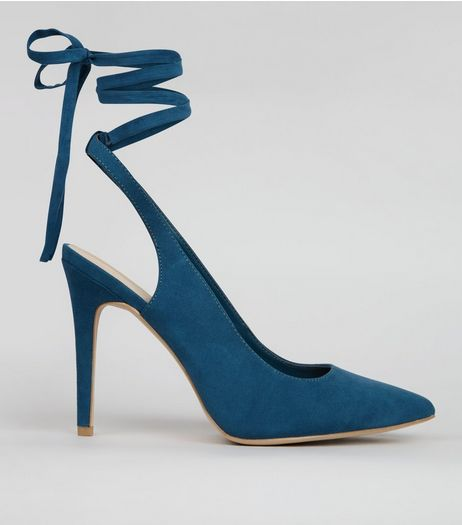Wide Fit Blue Pointed Tie Up Heels | New Look