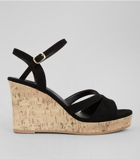 Wide Fit Black Suedette Cork Wedge Heels | New Look