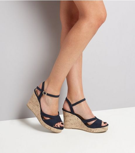 Wide Fit Navy Double Strap Top Cork Wedge Heels | New Look
