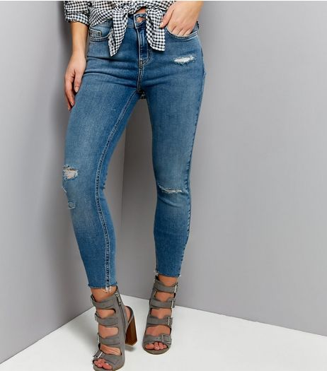 Blue Ripped Skinny Jenna Jeans  | New Look