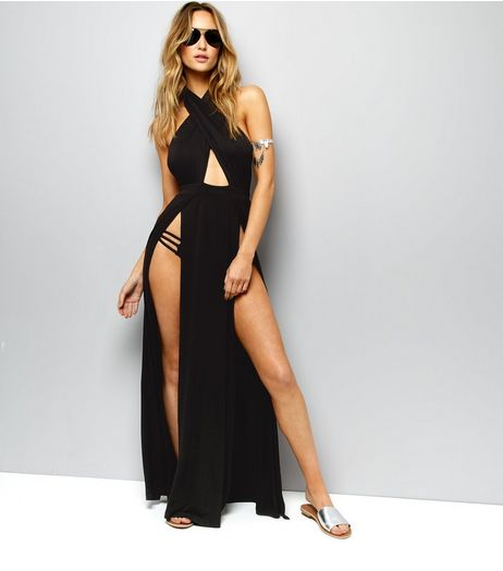 Black Jersey Split Front Maxi Dress  | New Look