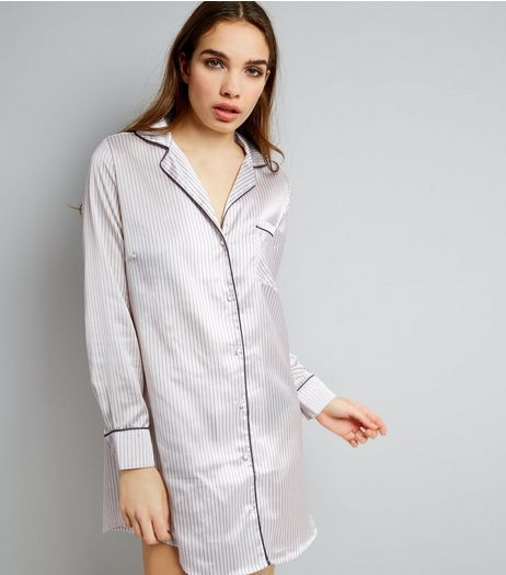 Pink Stripe Sateen Oversized Pyjama Shirt | New Look