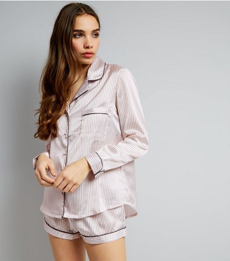 Pink Stripe Sateen Shorts Pyjama Set | New Look