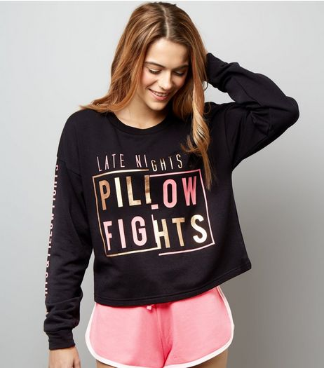 Black Late Nights & Pillow Fights Pyjama Set | New Look