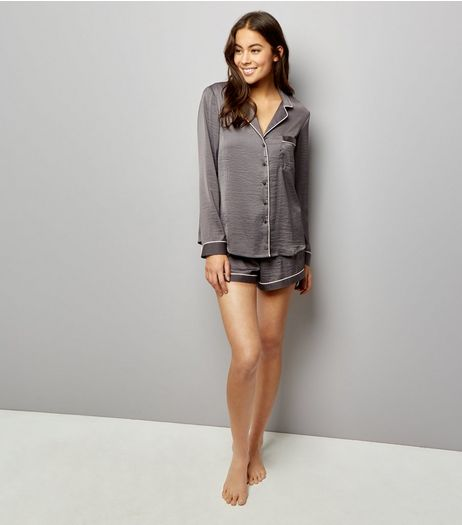 Dark Grey Contrast Trim Pyjama Shirt and Shorts | New Look