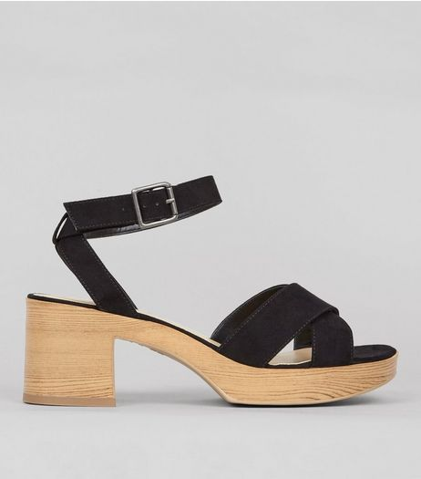 Wide Fit Black Suedette Wooden Platform Heels | New Look