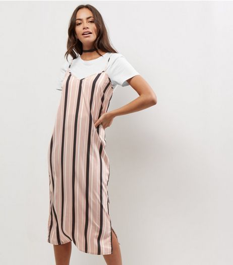 Influence Shell Pink Stripe 2 in 1 Slip Dress | New Look