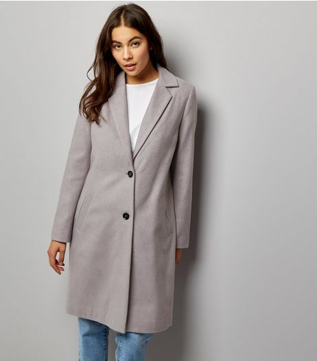 Grey Button Front Coat | New Look