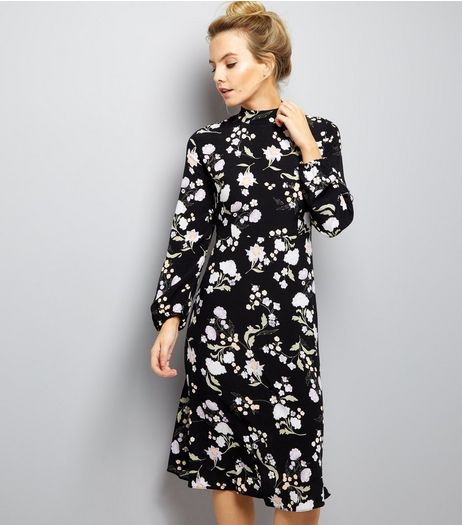 Petite Black Floral Funnel Neck Midi Dress | New Look