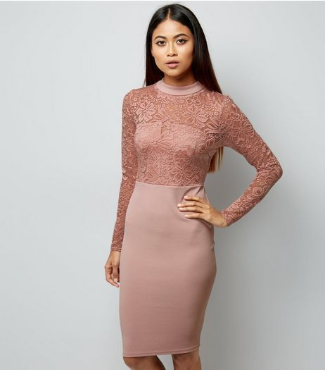 Petite Pink High Neck Lace Top Bodycon Dress | New Look